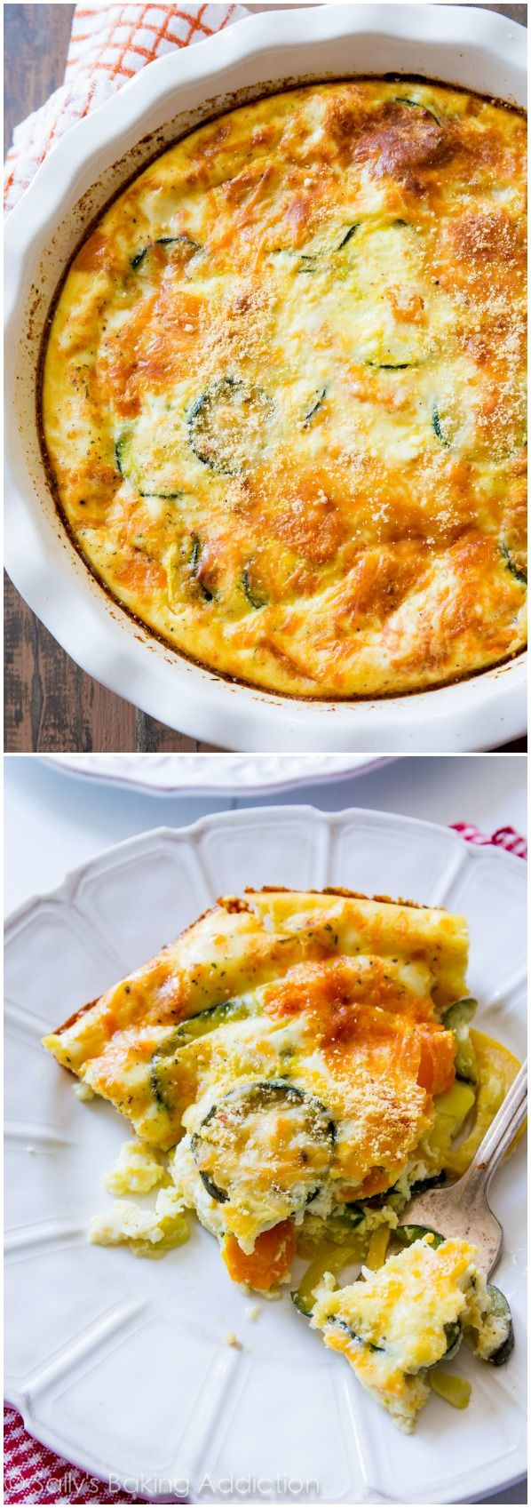 A lightened-up, healthy crustless quiche with heavy flavor and only 110 calories per giant serving!