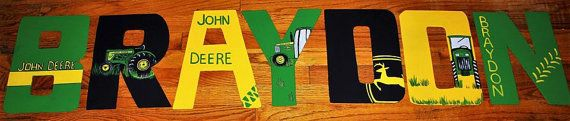 Hand made wooden letters in a John Deere theme.Custom made and low price!