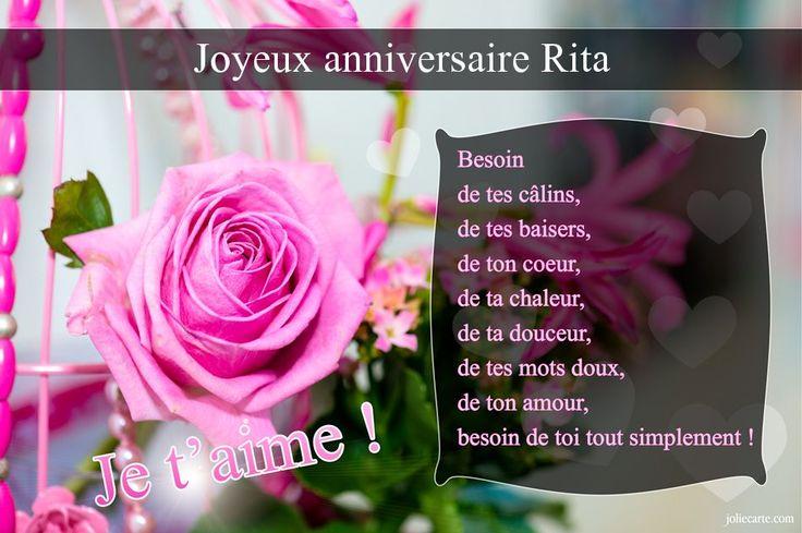 Cartes virtuelles joyeux anniversaire Rita