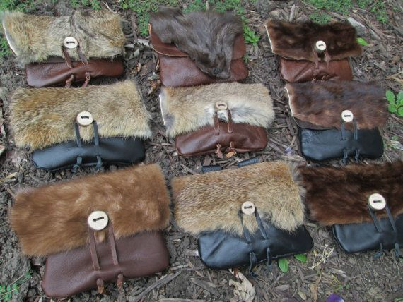 Viking Fur Pouch Choose Your Belt Bag $35 Handmade and for sale by FolkOfTheWood on Etsy.