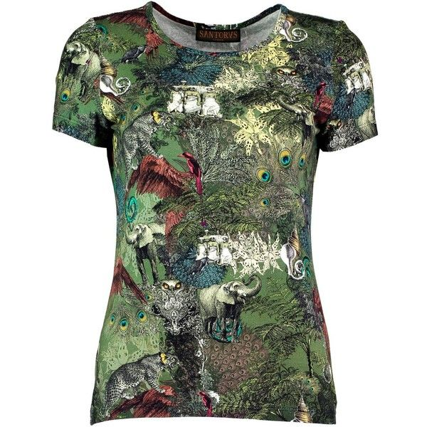 Santorus - Ceylon Jungle T-Shirt ($200) ❤ liked on Polyvore featuring tops, t-shirts, camo top, lightweight t shirts, camouflage top, viscose tops and green tee