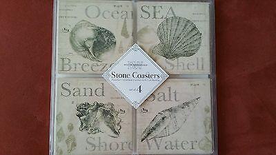 Coastal Beachy Sandstone Coasters Cork Set of 4 Boston Warehouse