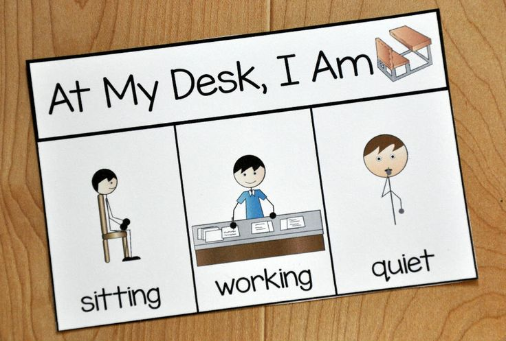 "Free Behavior Supports! This printable behavior support is a visual for students with Autism and other visual learners. This behavior reminder card is ideal for students who have difficulty with appropriate behavior while at their desks. This reminder card, visually reminds students ""When I'm at my desk, I am quiet, working, and sitting."