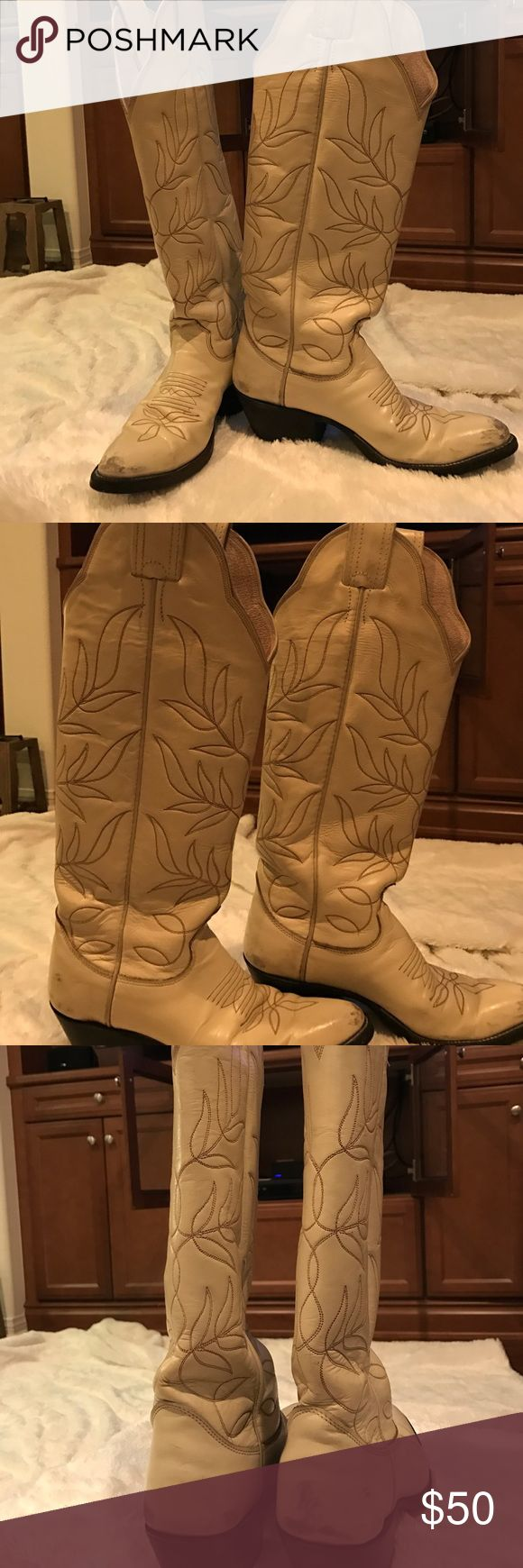 Size 4.5 Ivory Olathe Boot Co cowgirl boots They are marked size 4.5 but fit size 5 foot. These are vintage! Worn in genuine leather made in Texas cowgirl boots!! They are tall and look absolutely darling with any style jeans, skirts, and daisy duke shorts!! Wear them line dancing, to a theme party or to stagecoach!! These are perfect for anything country and western!! Shoes Heeled Boots