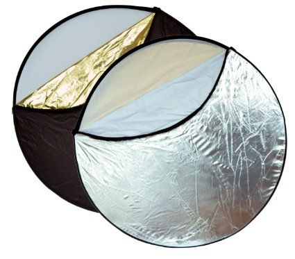 "Opteka 43"" 5-in-1 Collapsible Disc Reflector, Translucent, White, Black, Silver, Gold, with Carrying Case"