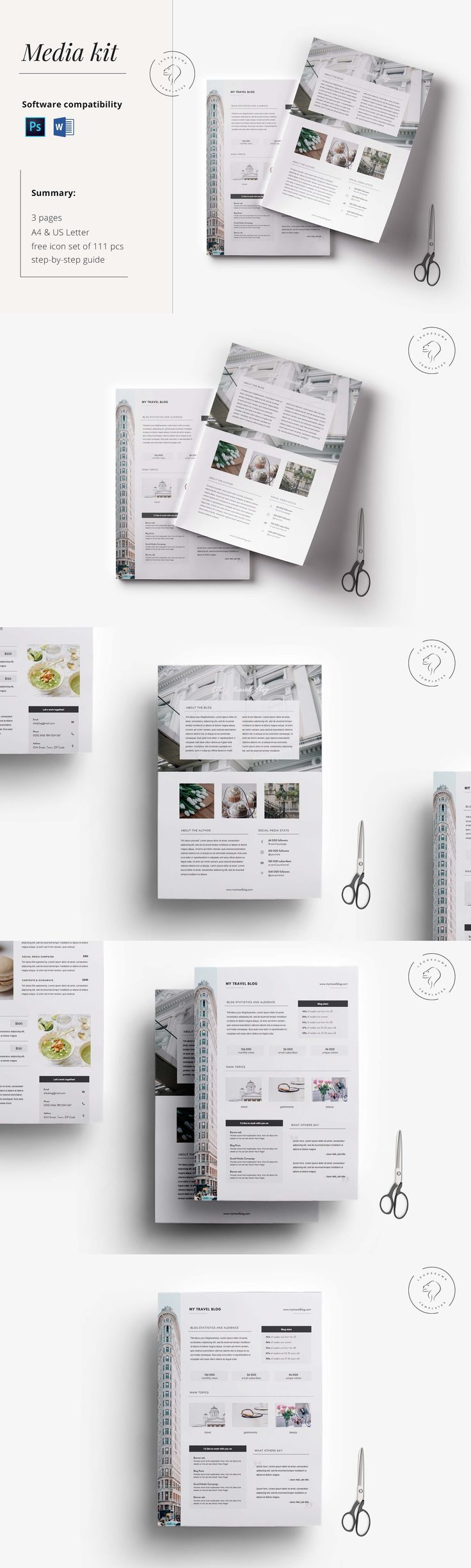 press kit cover letter + 5-page media kit template in docx format + 1-page cover letter + 1-page blog/website rate sheet + 1-page instagram rate sheet + 2 sizes: a4 + us letter + user guide + uses free fonts + free icon pack containing 102 social media + personal interest icons + photographs not included.