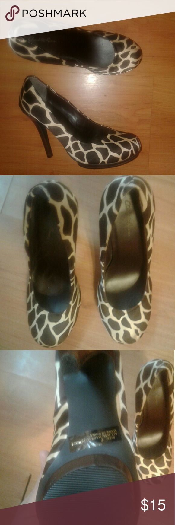 Charlotte Russe heels Charlotte Russe giraffe print heels. Heel measures 4 1/5 inches. Super pretty with a silky like material. Only wore a handful of times. Charlotte Russe Shoes Heels