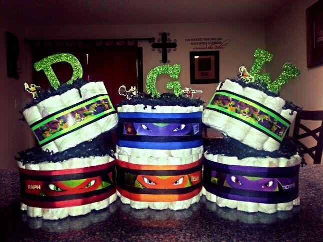 Ninja Turtle diaper cake. ..108 diapers in all. Twohootsdiapercakes