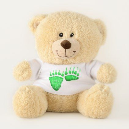 Green Bear Paws - Small Teddy Bear - baby birthday sweet gift idea special customize personalize
