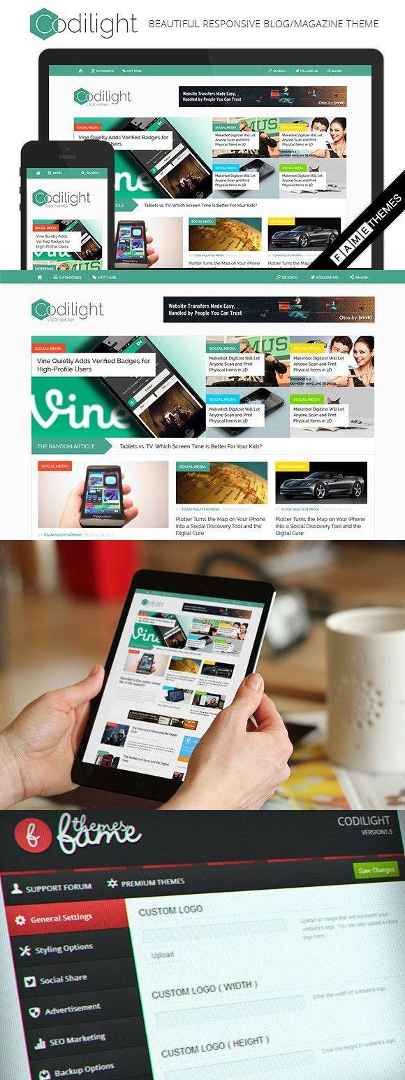 Codilight - Beautiful Magazine Theme. WordPress Magazine Themes. $49.00