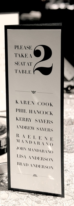 Table cards with guest names www.papyrusdesign.com