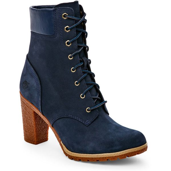 "Timberland Navy Glancy 6"" High Heel Boots ($80) ❤ liked on Polyvore featuring shoes, boots, blue, mid-calf boots, mid calf boots, navy blue shoes, faux-fur boots, chunky heel boots and lace-up boots"