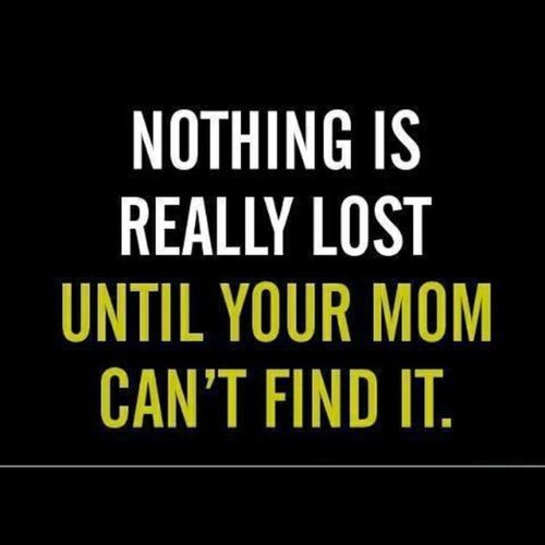 So True ~ Nothing Is Really Lost Until Your Mom Cant Find It