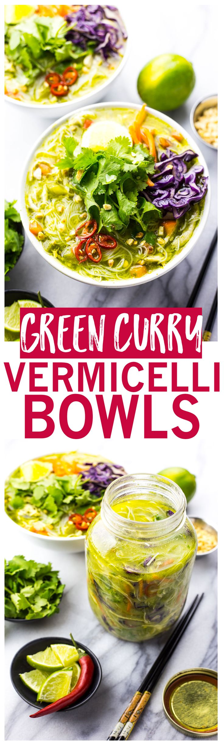 Thai Green Curry Chicken Vermicelli Bowls are a delicious, spicy noodle soup!