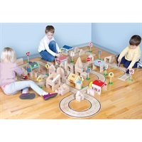 Block Play Roadway System-The 42-piece set includes varied sizes and shapes for countless roadway configurations in the classroom or playroom.