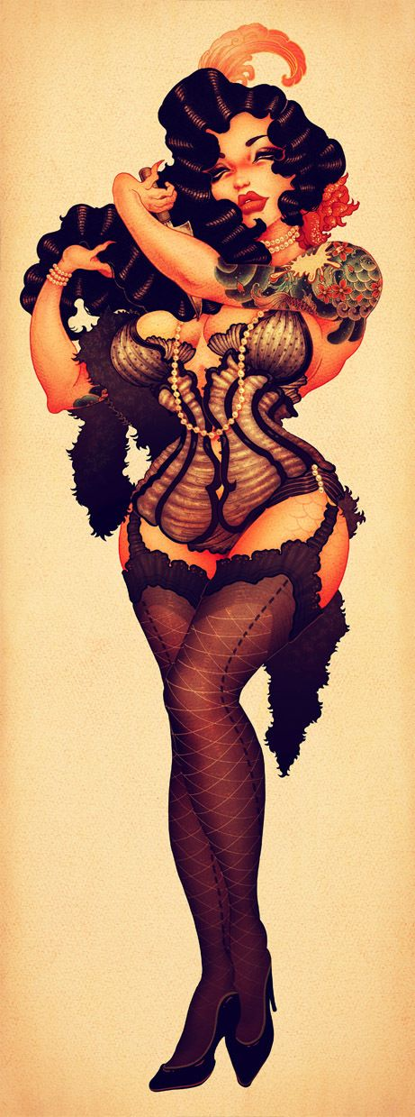 ONEQ/Pinup/Burlesque-Mermaid by ONEQ pinups, via Behance