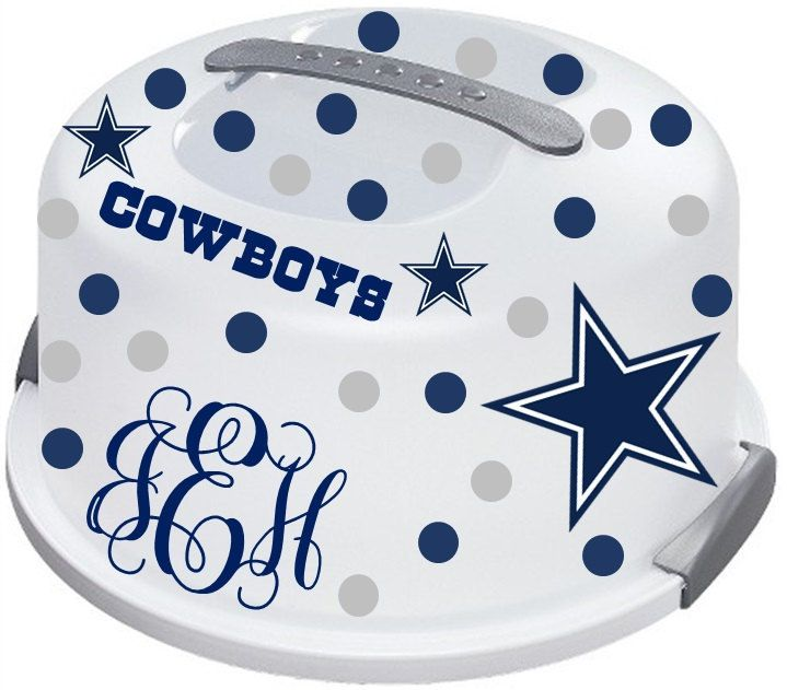 Nice Dallas Cowboys Cake Carrier monogrammed with your 3 initials. Please inbox me how you would like your initials arranged. Usually they are first name initial, last name initial in the middle, and then middle initial on the right. I can do any sports teams. Just let me know your favorite. I will send you a picture before it is shipped out to make sure this is what you want.