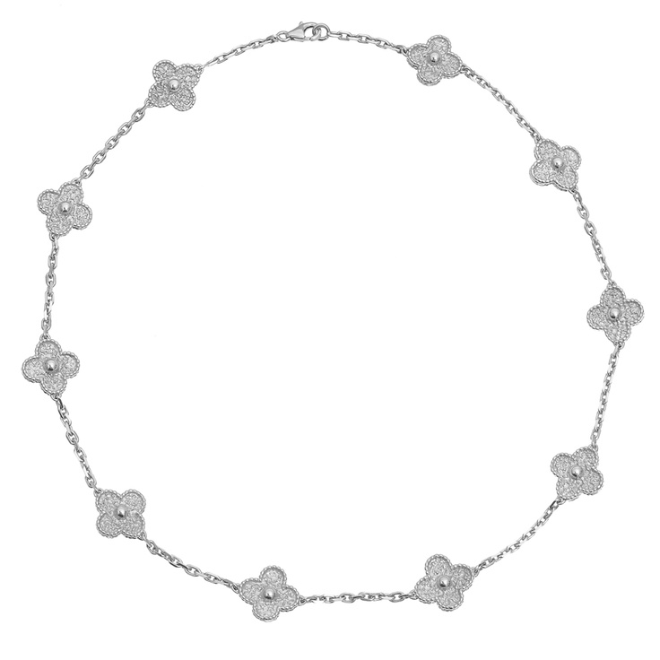 van cleef u0026 arpels 18k white gold vintage alhambra necklace