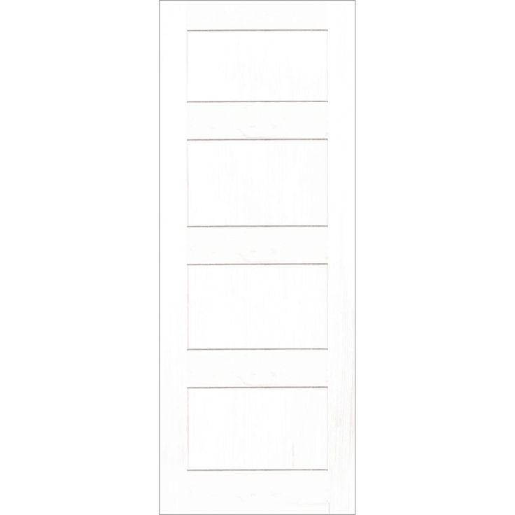 30x80  Porte de style Zen Shaker moulure carrée 4 panneaux en Apprêt Blanc