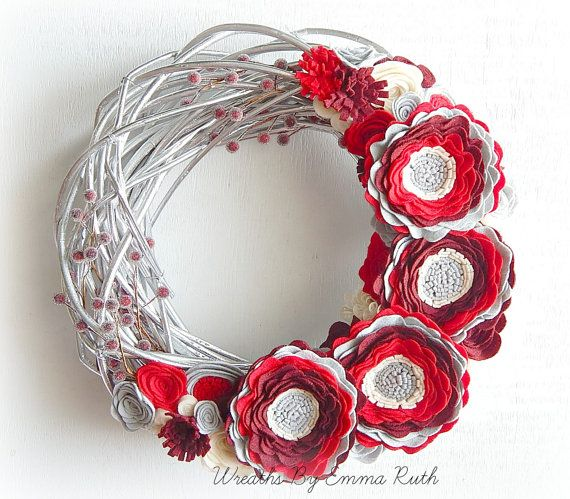 Silver Winter Grapevine Twig Felt Floral Wreath with handmade felt flowers in red, burguny and gray. Winter Wreath Decor