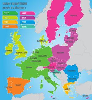 Carte des pays membres de l'Union européenne
