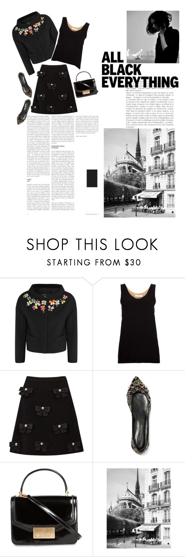 """""""On A Rainy Sunday Afternoon"""" by mgoslin ❤ liked on Polyvore featuring Boutique Moschino, Chloé, Oscar de la Renta, Tory Burch, allblackoutfit, embellishedblackjacket, embellishedblackskirt and embellishrdshoes"""