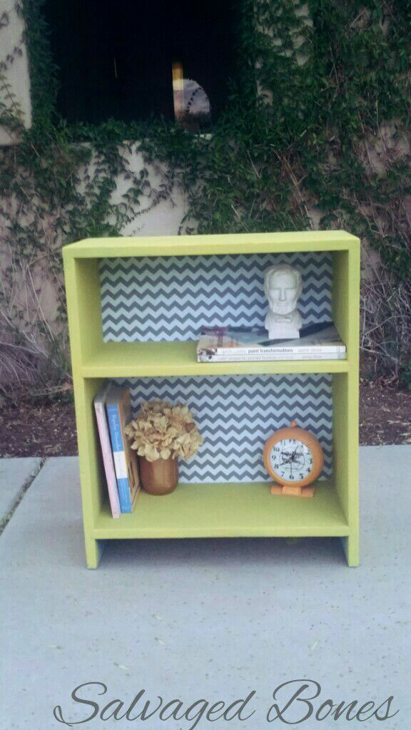 Used (normal wear) - Cute bookshelf painted in Annie Sloan's English Yellow chalk paint and  Chevron backing. Will make any room bright and cheery =. Text me for quicker response.  No holds.  Quick pick up only please. Greenfield and Elliot.  Measurments are  H 30 1/2 L 26 3/4 D 13 1/2