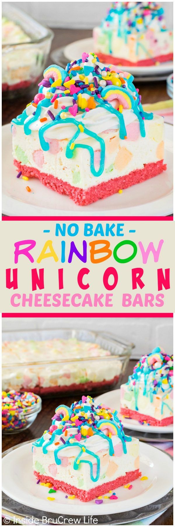 No Bake Rainbow Unicorn Cheesecake Bars - a pink cookie crust, lots of sprinkles, and colorful marshmallows makes this easy dessert recipe perfect for spring parties!
