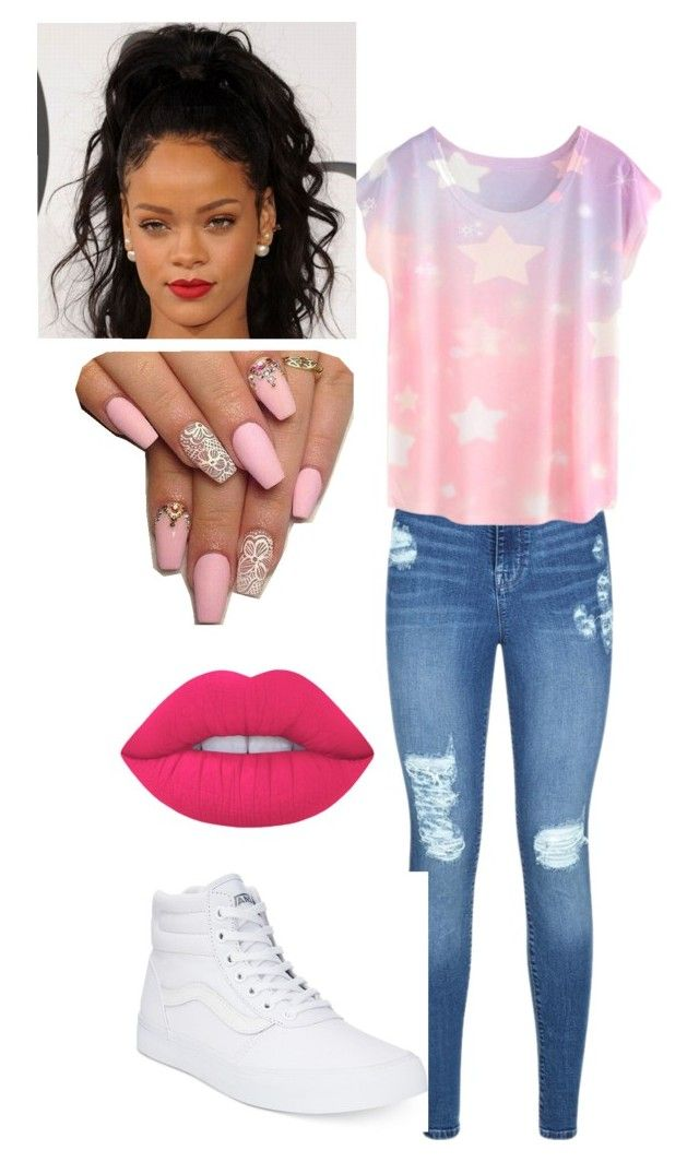 """Untitled #11"" by queenquanna1108 on Polyvore featuring Lipsy, Vans and Lime Crime"