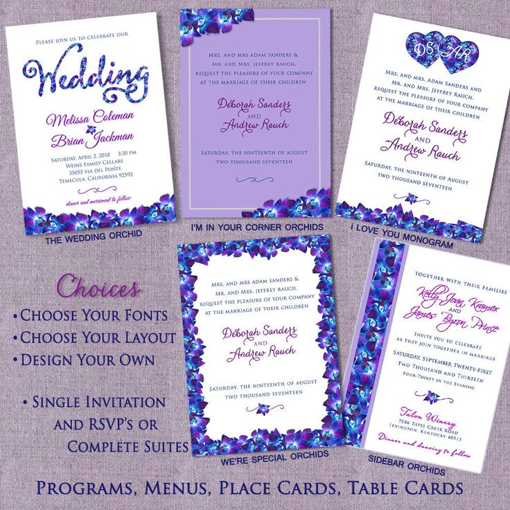 Orchid Design Wedding Invitations, Floral Wedding Invitation Suites, Custom, Blue Purple Orchid Theme, Belly Bands, Invitation Suites by SaveTheDateMagnets4U on Etsy