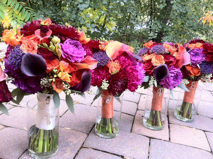 Bright and bold bouquets, fall wedding, purple and orange bouquets, fuchsia, orange, summer wedding, spring wedding