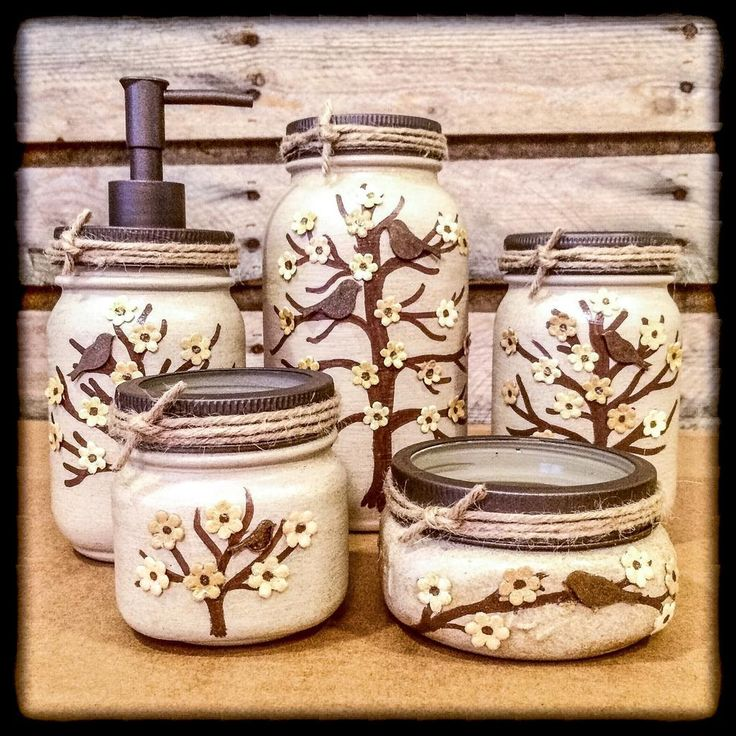 Mason jar desk set mason jar bathroom set painted mason for Bathroom decor mason jars