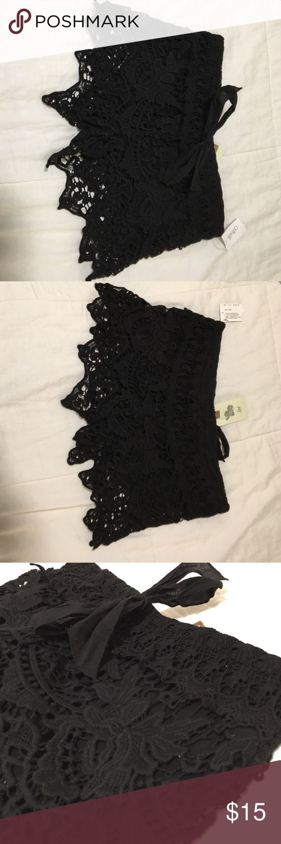 Black crochet shorts Never worn with tags! Stretchy material, adjustable waist. Shorts