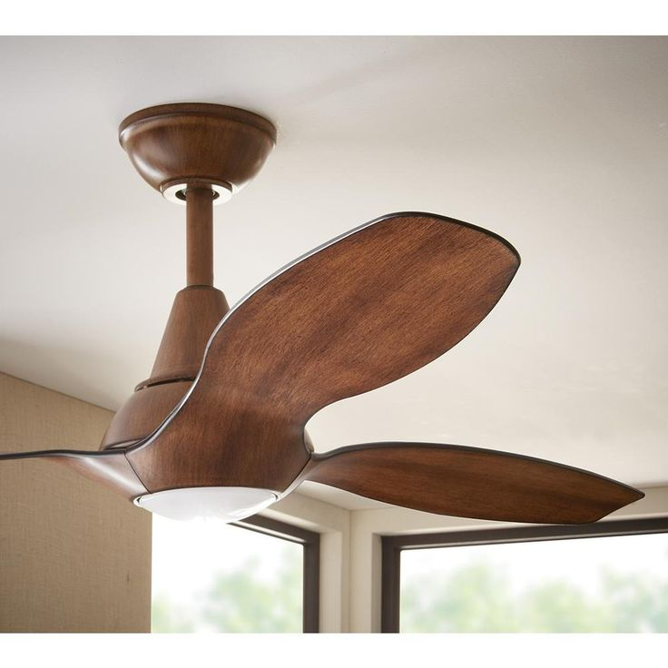 This contemporary ceiling fan includes a dimmable integrated LED light, so there will be no light bulbs to replace. The distressed koa wood adds warmth to the modern style of the fan.