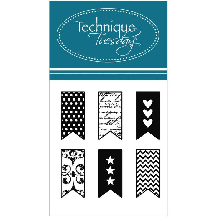 Little Banners Clear Stamps Technique Tuesday Planner Stamps Heart Banner Star Banner Chevron Banner Zigzag Banner Polka Dot Banner Damask by InkyHotMess on Etsy