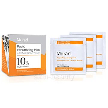 Murad Rapid Resurfacing Peel 10% Glycolic Acid - 16 wipes - is an extra-strength peel helps reverse signs of aging and detoxify skin. An effective mixture of 10% Glycolic Acidity and Ascorbic Acid instantly retexturizes skin, enhances radiance, and evens tone without irritation.