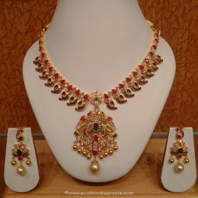 22K Gold Light Weight Peacock Necklace Set