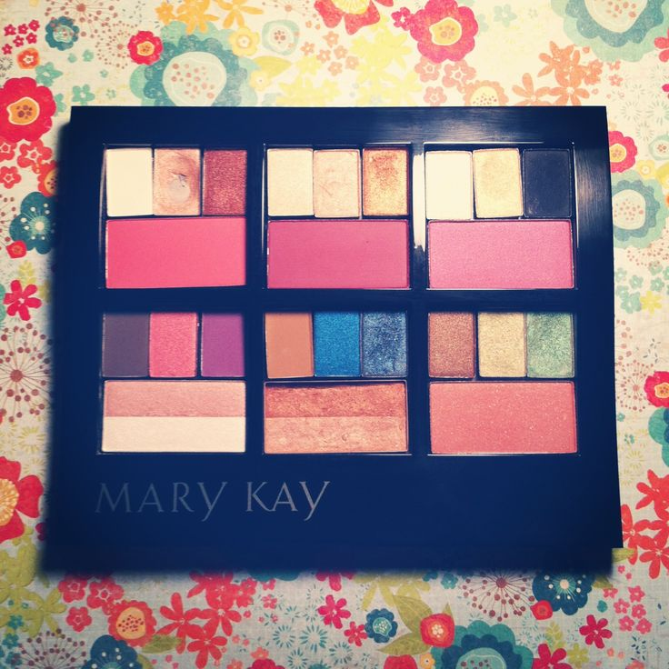 Displaying Mary Kay cosmetics with six different palette combinations.  Great quality long lasting mineral makeup.  Pick three eye colors, one cheek color, and put them into a mini compact all for $49.