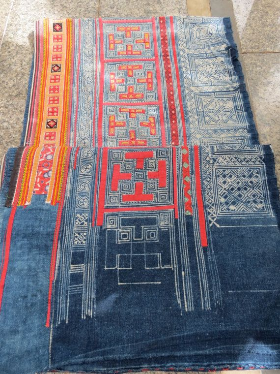Wall-hanging at entry?  Handwoven batik  cotton, Hmong  Vintage textiles and fabric- table runner from Thailand