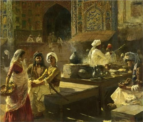 An Open Air Kitchen, Lahore, India - Edwin Lord Weeks