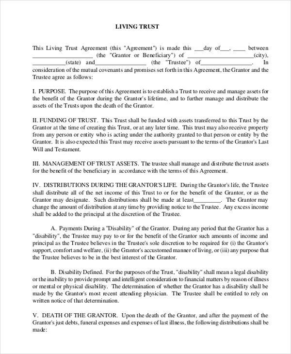 Living Trust Form Free Sample Free Living Will Form 8 Free Documents In Doc Pdf Living Trust Attendance Sheet Template Revocable Living Trust