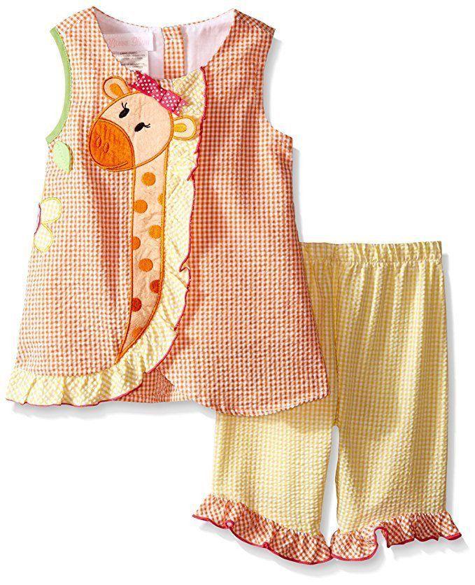 BONNIE JEAN Baby Giraffe Applique Seersucker Playwear Set Outfit Orange 3-6M NWT