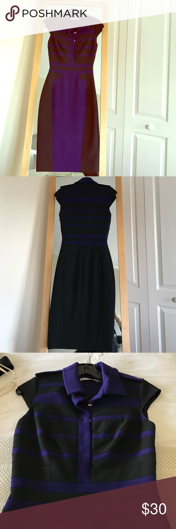 Karen Millen blue/black pencil dress U.K. 6 Karen Millen fitted pencil dress UK 6. Slim flattering fit I recommend more for a size 0. Knee length hidden side zipper. Perfect with black pumps. Worn once no major flaws. Karen Millen Dresses
