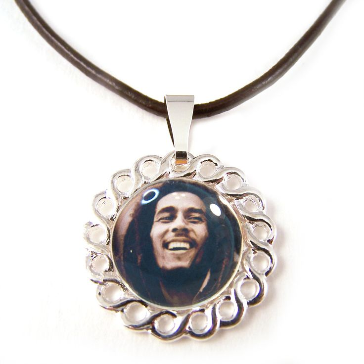 Unique Bob Marley glass tile pendant on genuine leather cord necklace
