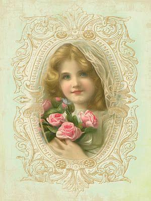 JanetK.Design Free digital vintage stuff: Vintage rose-girl tag