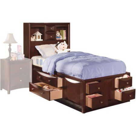 acme manhattan full bed with storage espresso