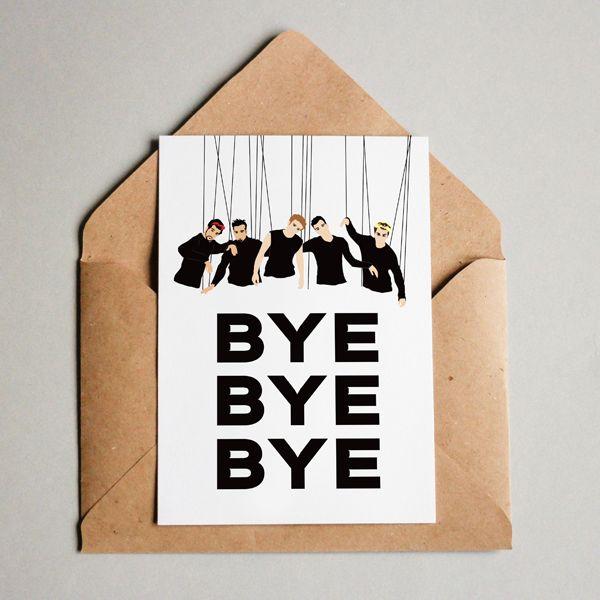 "nsync ""bye bye bye"" funny leaving card  goodbye card"