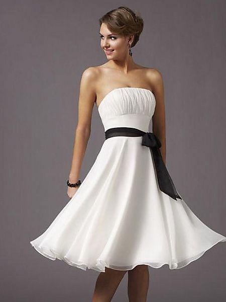 Spring White Strapless Tube Top Cocktail Dress - Basadress.com
