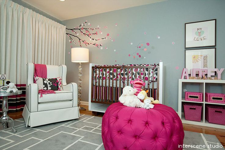 Pink and grey cherry blossom nursery: Cherries Blossoms, Pink Flowers, Little Girls, Colors, Baby Girls, Baby Rooms, Girls Nurseries, Girls Rooms, Cherry Blossoms