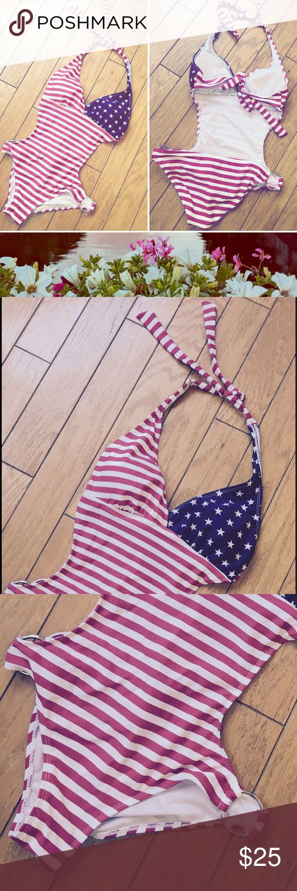Marina West Patriotic Cut Out One Piece Swim Suit Marin West - Size medium (juniors). Fits sizes 3/4. Be patriotic & sexy this summer with this one piece with cut out sides, padded halter top, and silver rings on the sides. Bikini style bottom (medium coverage.) Please make me an offer if you're interested 😊 Marina West Swim One Pieces